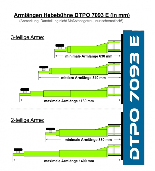 ProfiPaul 2-post lift electric 4,0t (DTPO 7093 E) measurements arms